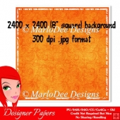Orange Swirl Pattern 8x8 Background with White Border {BT}
