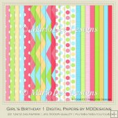 Girl's Birthday Digital Papers by MDDesigns