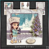 Cute Penguin Winter Scene Vintage Card Kit 1050