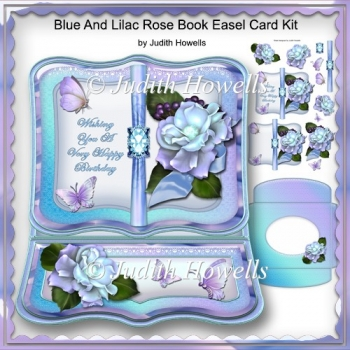 Blue And Lilac Rose Book Easel Card Kit