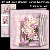 Pink and Cream Bouquet - Curved Layers Card