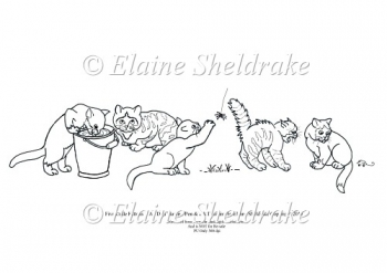 Five Little Kitty Cats - A5 Digi Stamp