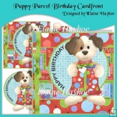 Puppy Parcel Birthday Cardfront with Decoupage