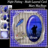 Night Fishing - Multi-Layered Card
