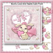 Bunny Love And Hearts Card Front