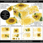 VINTAGE SUNFLOWER TEA BOX GIFT SET