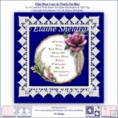 Pink Rose Lace & Pearls On Blue 6 x 6 Card Kit + Insert Envelope