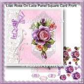 Lilac Rose On Lace Panel Square Card Front