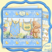Baby Boy Washing Line 7.5 Decoupage Mini Kit