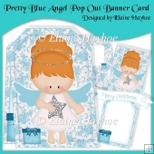 Pretty Blue Angel Pop Out Banner Card Kit