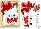Cute white love owl for valentines A5 With red heart