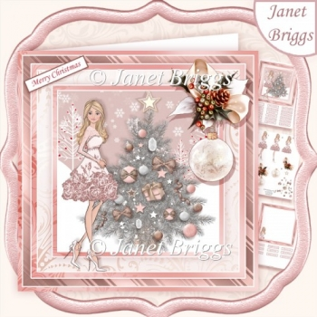 ROSE GOLD CHRISTMAS TREE & LADY 7.5 Decoupage & Insert Kit
