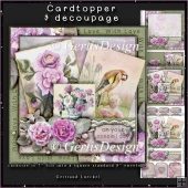 Vintage Bird Card Topper Kit with roses