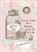 Cute as a Button Valentine Card Front