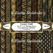 Luxury Gold & Black - Ten 12 x 12 Sheets Backing Papers Set One