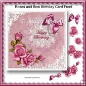 Roses and Bow Birthday Card Front
