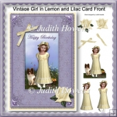 Vintage Girl in Lemon And Lilac Card Front