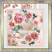 Rose in bloom 7x7 card with decoupage