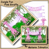 Jungle Fun - Pink Giraffe - Girl's Birthday Card