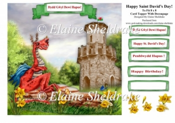 St Davids Day or Welsh Dragon & Castle Birthday Card + Decoupage