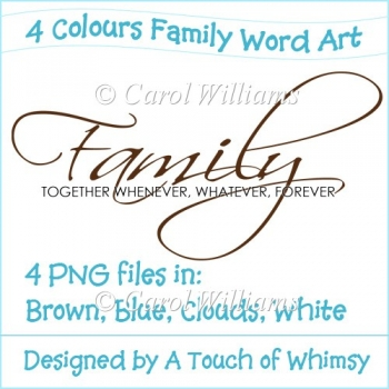4 Colours of Family Word Art