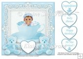 "Baby Boy in a Teacup - 7.5"" x 7.5"" Card Topper"
