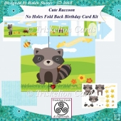 Cute Raccoon No Holes Fold Back Birthday Card Kit