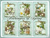 Cottage Chic Harbingers of Spring Nesting Birds Tags/ Card Front