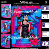 Art Deco Lady 3D Pop Concertina Stained Glass Style Box Card Kit