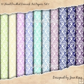 10 Hand Doodled Damask A4 Papers Set 1