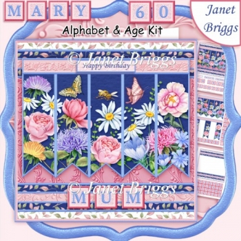 MEADOW FLOWERS Alphabet and Age Quick Card Kit Create Any Name