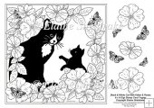 "B&W Cat & Kitten In The Roses 8"" x 8"" Digi Stamp With Decoupage"