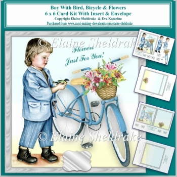 6 x 6 Boy With Bicycle,Bird & Flowers Card Kit With Decoupage