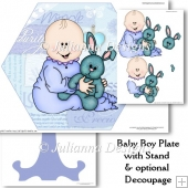 Baby Boy Plate With Pptional Decoupage