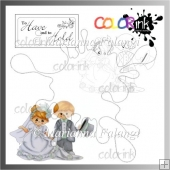 Bride & groom and sentiment Digi stamp