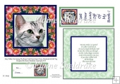 Tabby Cat In The Roses Card Topper Insert Verse Tag & Bookmark