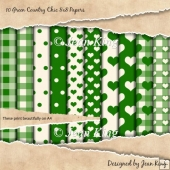 10 Green Country Chic 8x8 Papers