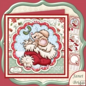 CHRISTMAS MOUSE IN SANTA HAT 8x8 Decoupage & Insert Kit