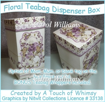 Floral Teabag Dispenser Box