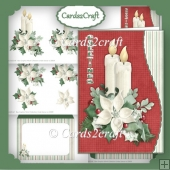 Wavy edge Christmas Candle card set
