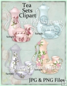 Cottage Chic COMMERCIAL USE Tea Sets Clipart