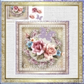 Rose butterfly and lace 7x7 card with decoupage