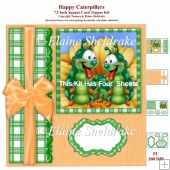 Happy Caterpillars 7.5 Inch Square Card Topper Kit & Assorted Gr