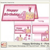 DL size Pink 4th Birthday Angel