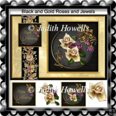Black and Gold Roses and Jewels