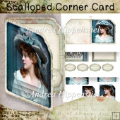 Scalloped Corner Card vintage be happy