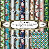 Christmas - Set Three - Ten 12 x 12 Backing Papers