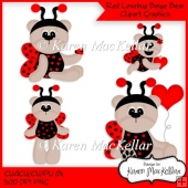 CU4CU, CU or Personal Use Red Lovebug Beige Bears Clipart
