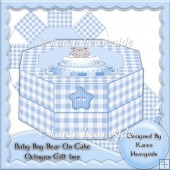 Baby Boy Bear On Cake Octogon Gift Box