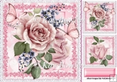 pretty pink roses with butterflies, lace & toppers 8x8